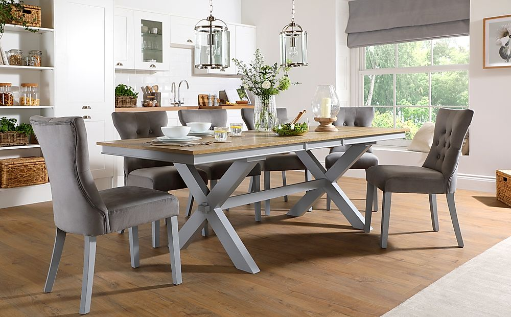 Grange Painted Grey and Oak Extending Dining Table with 8 Bewley Grey Velvet Chairs