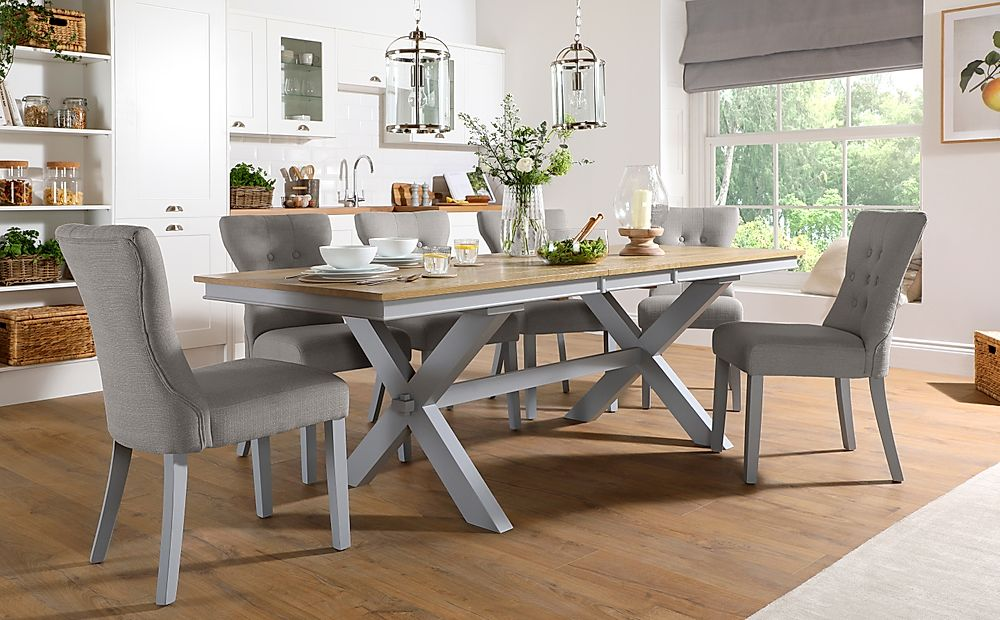 Grange Painted Grey and Oak Extending Dining Table with 8 Bewley Light Grey Fabric Chairs