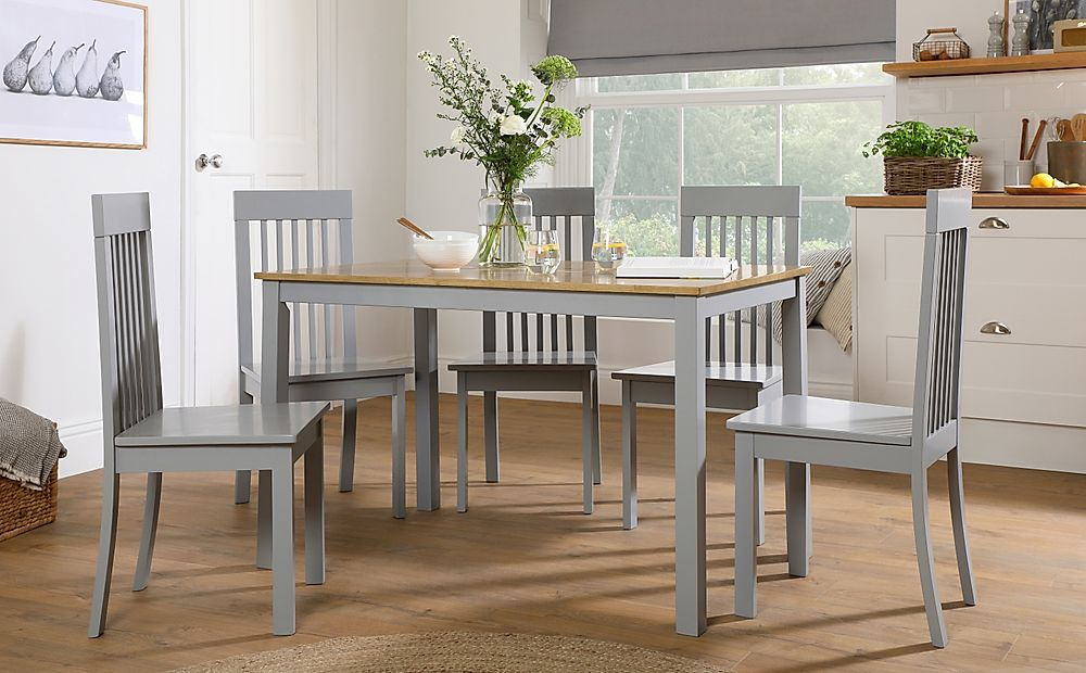 Milton Painted Grey and Oak Dining Table with 4 Oxford Grey Chairs