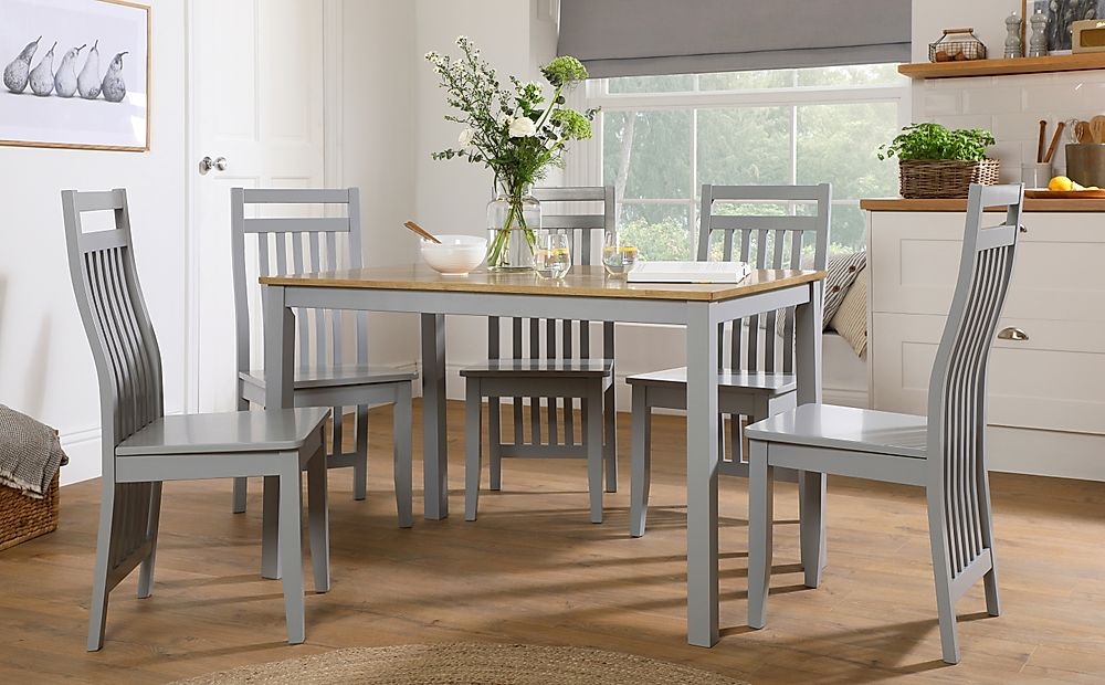 Milton Painted Grey and Oak Dining Table with 4 Java Grey Chairs