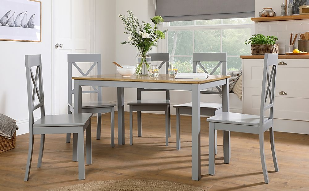 Milton Painted Grey and Oak Dining Table with 4 Kendal Grey Chairs