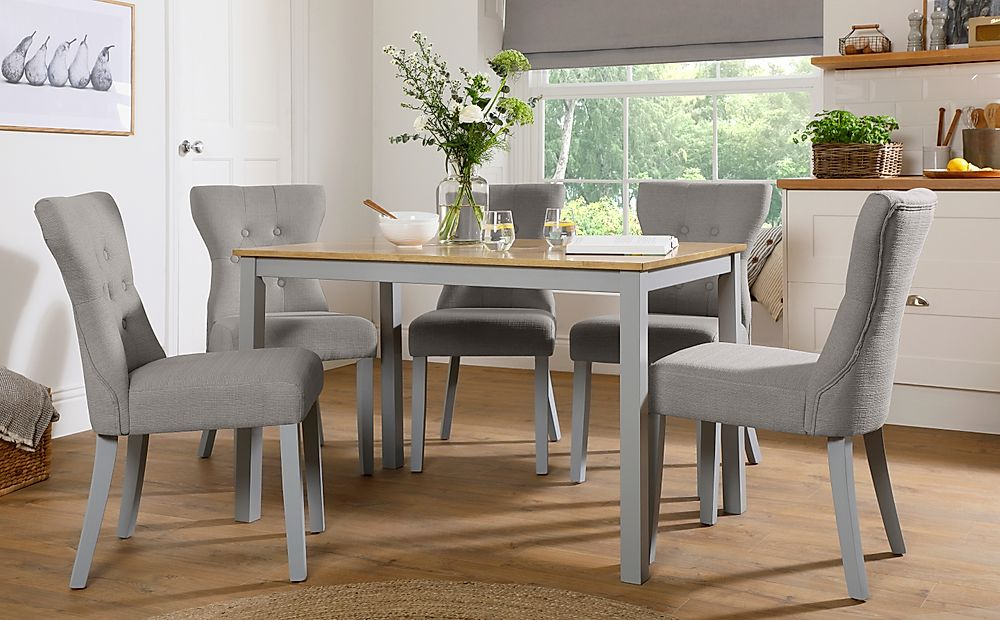 Milton Painted Grey and Oak Dining Table with 6 Bewley Light Grey Fabric Chairs