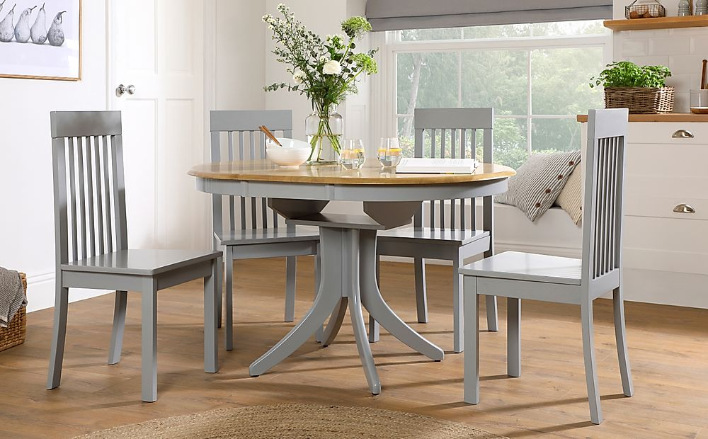 Hudson Round Painted Grey and Oak Extending Dining Table with 6 Oxford Grey Chairs