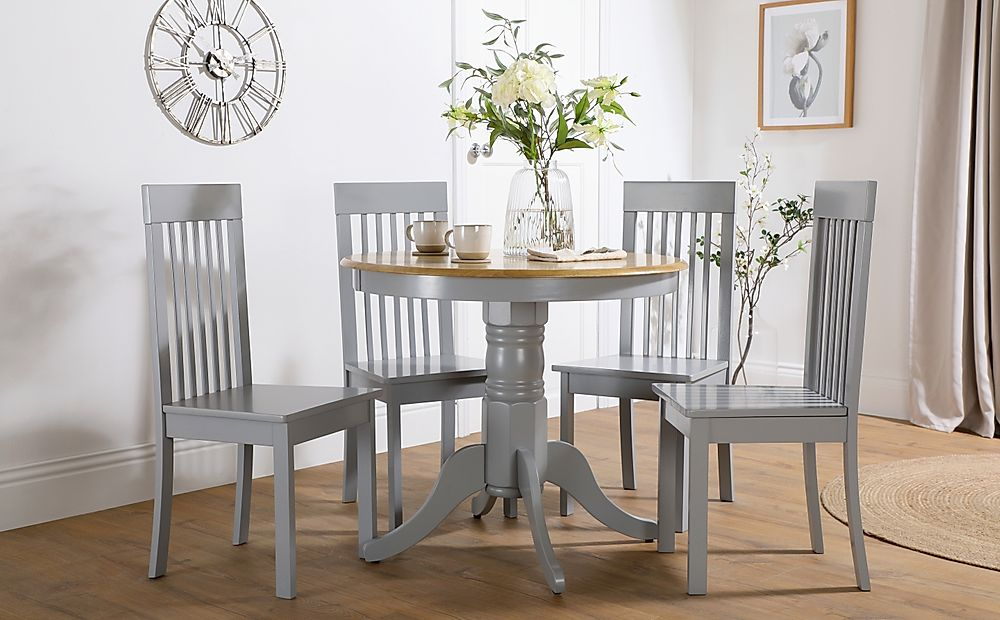 Kingston Round Painted Grey and Oak Dining Table with 4 Oxford Grey Chairs