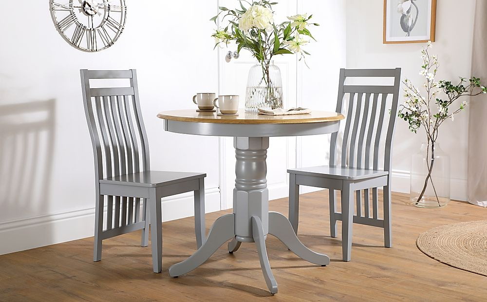 Kingston Round Painted Grey and Oak Dining Table with 2 Java Grey Chairs