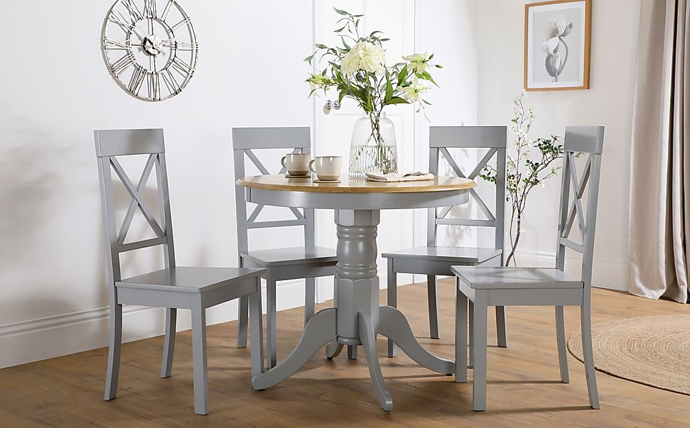 Kingston Round Painted Grey and Oak Dining Table with 4 Kendal Grey Chairs