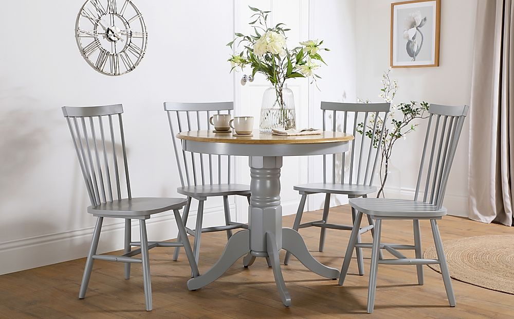 Kingston Round Painted Grey and Oak Dining Table with 4 Pendle Grey Chairs