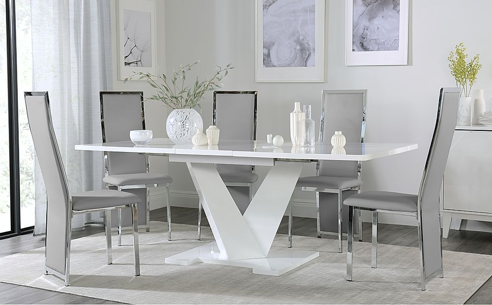Turin White High Gloss Extending Dining Table with 8 Celeste Light Grey Leather Chairs