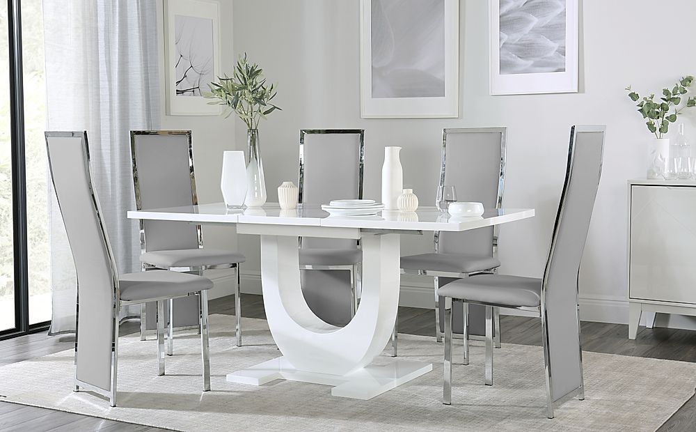 Oslo White High Gloss Extending Dining Table with 6 Celeste Light Grey Leather Chairs