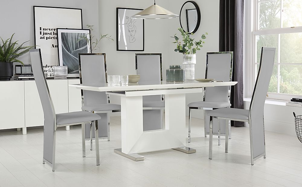 Florence White High Gloss Extending Dining Table with 4 Celeste Light Grey Leather Chairs