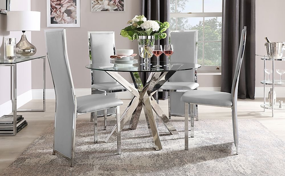 Plaza Round Chrome and Glass Dining Table with 4 Celeste Light Grey Leather Chairs