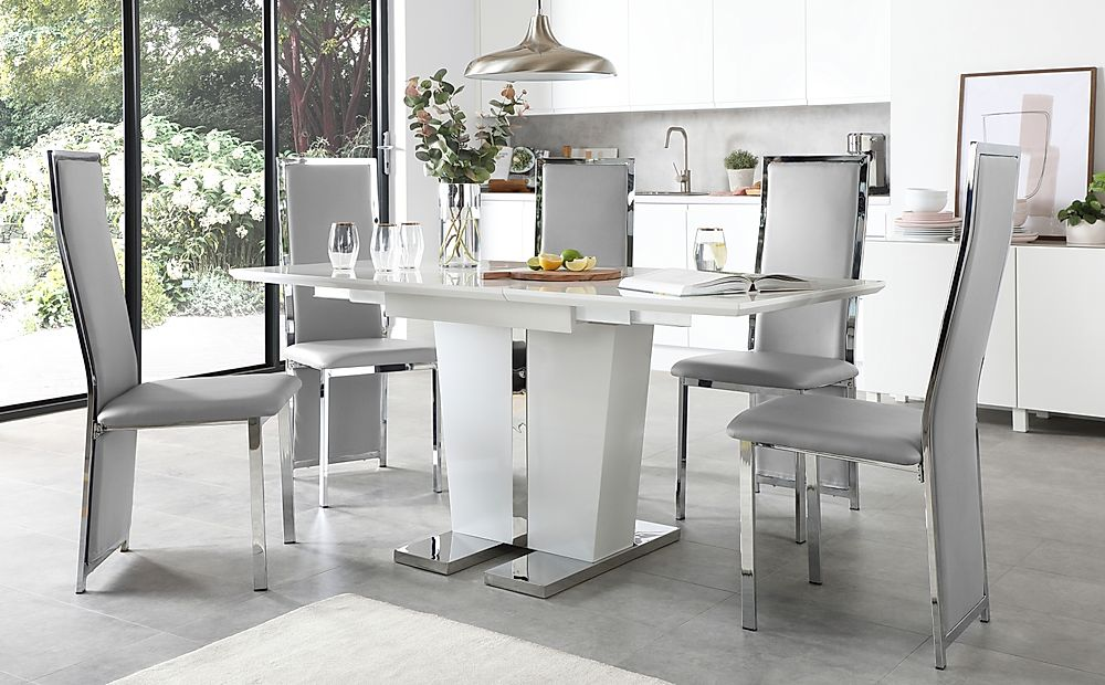 Vienna White High Gloss Extending Dining Table with 4 Celeste Light Grey Leather Chairs