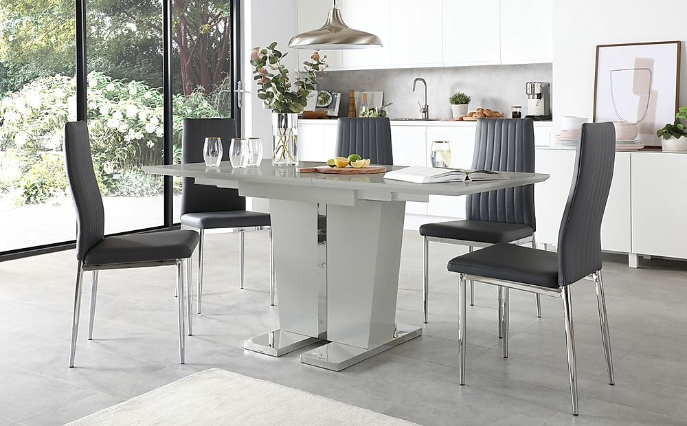 Vienna Light Grey High Gloss Extending Dining Table with 4 Leon Grey Leather Chairs