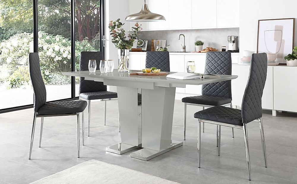 Vienna Light Grey High Gloss Extending Dining Table with 4 Renzo Grey Leather Chairs