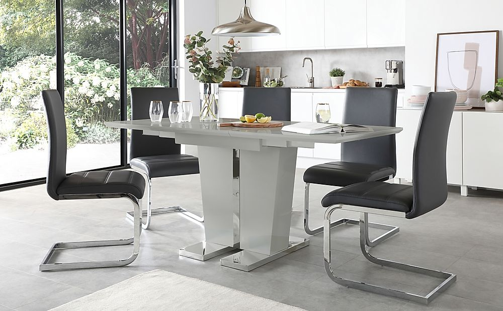 Vienna Grey High Gloss Extending Dining Table with 6 Perth Grey Leather Chairs