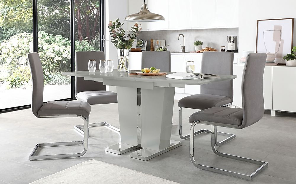 Vienna Grey High Gloss Extending Dining Table with 4 Perth Grey Velvet Chairs