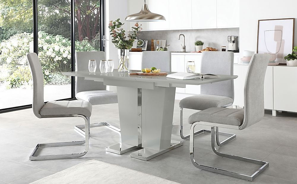 Vienna Grey High Gloss Extending Dining Table with 4 Perth Dove Grey Fabric Chairs