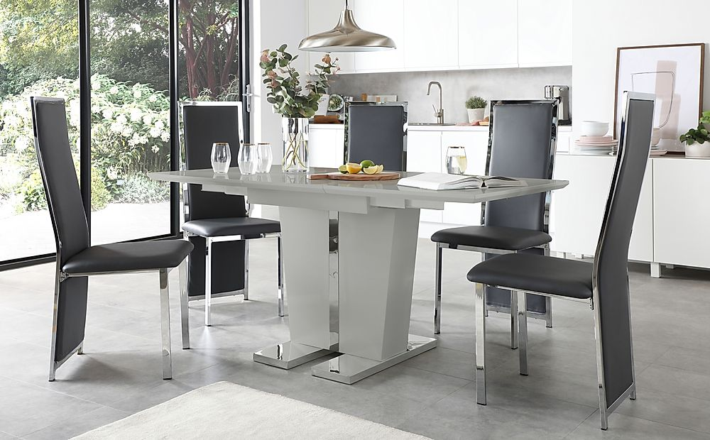 Vienna Grey High Gloss Extending Dining Table with 4 Celeste Grey Leather Chairs