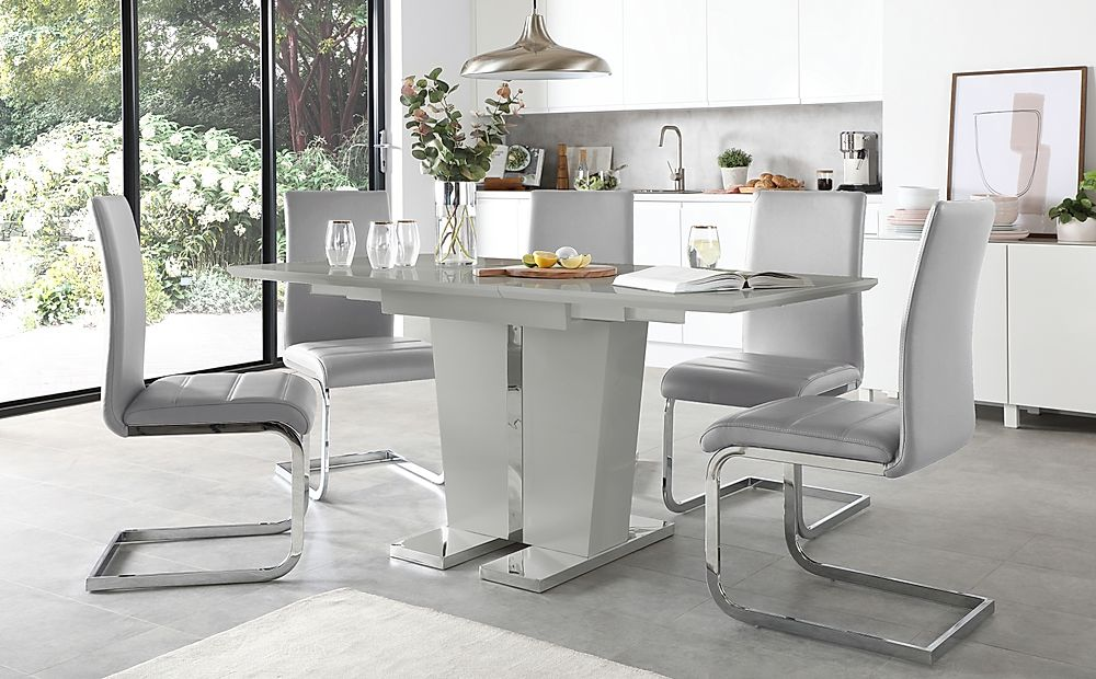 Vienna Grey High Gloss Extending Dining Table with 6 Perth Light Grey Leather Chairs