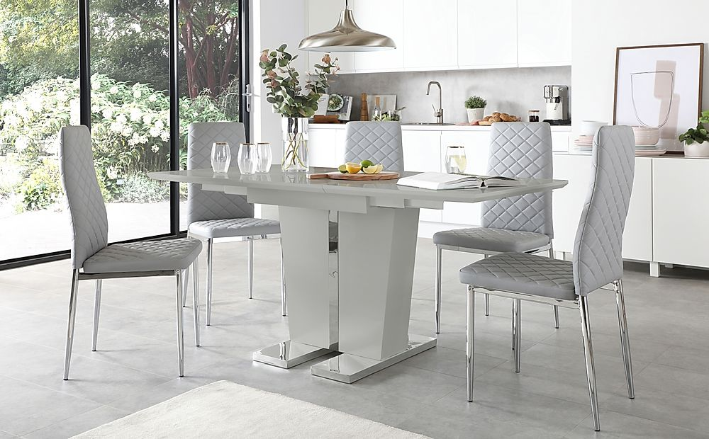 Vienna Grey High Gloss Extending Dining Table with 4 Renzo Light Grey Leather Chairs