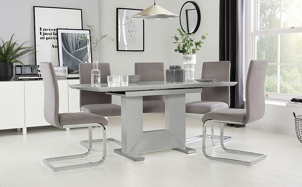 Florence Light Grey High Gloss Extending Dining Table with 6 Perth Grey Velvet Chairs