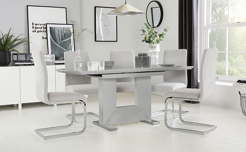 Florence Grey High Gloss Extending Dining Table with 4 Perth Dove Grey Fabric Chairs