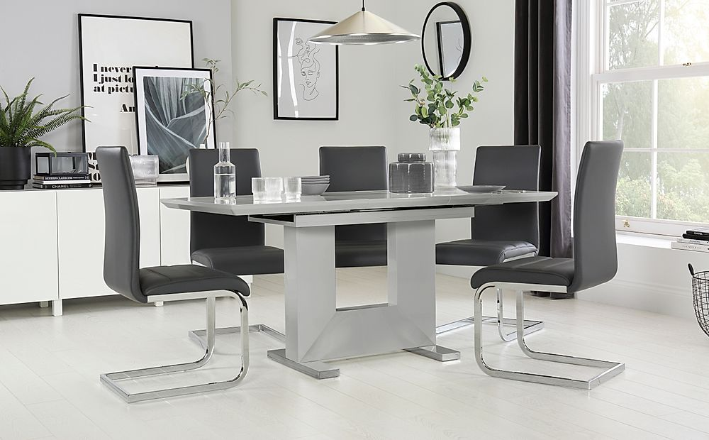 Florence Light Grey High Gloss Extending Dining Table with 6 Perth Grey Leather Chairs