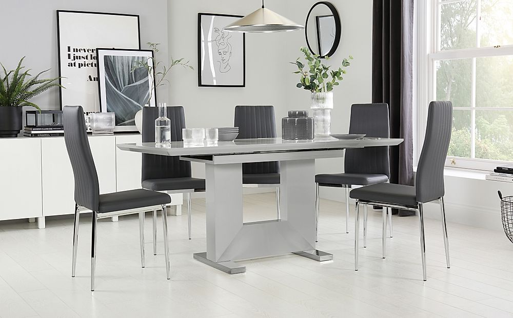 Florence Grey High Gloss Extending Dining Table with 6 Leon Grey Leather Chairs