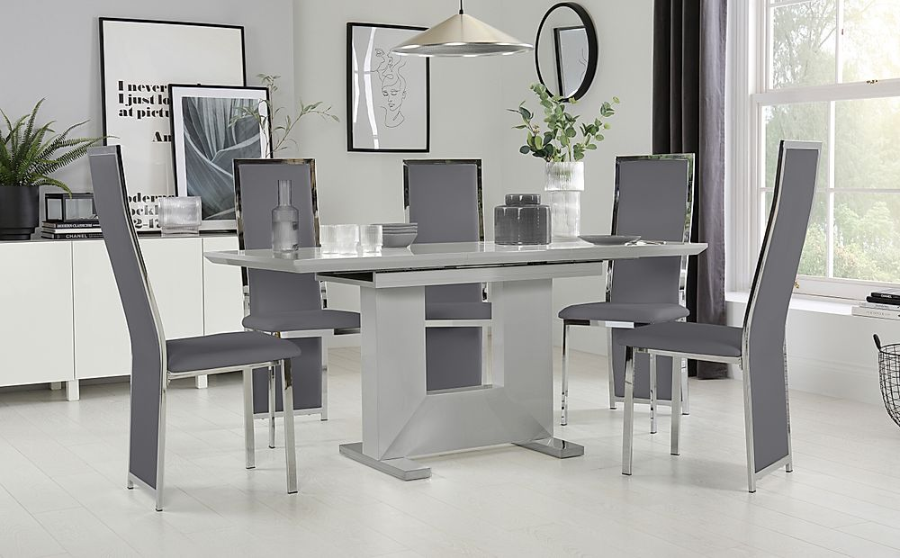 Florence Light Grey High Gloss Extending Dining Table with 6 Celeste Grey Leather Chairs
