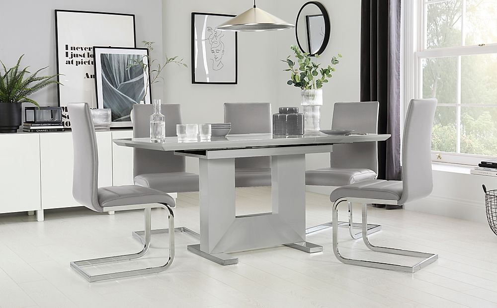 Florence Light Grey High Gloss Extending Dining Table with ...