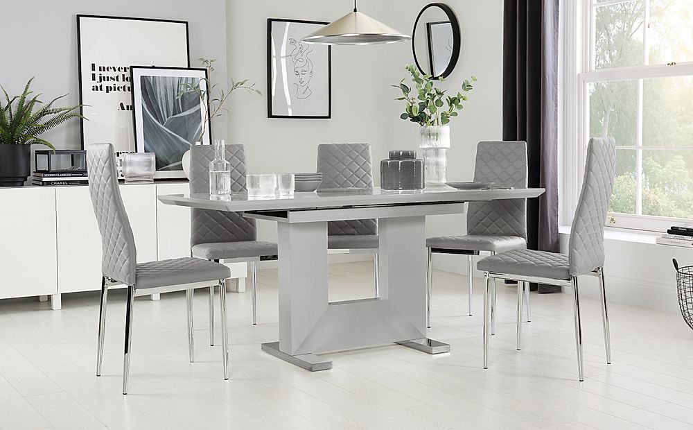 Florence Grey High Gloss Extending Dining Table with 4 Renzo Light Grey Leather Chairs