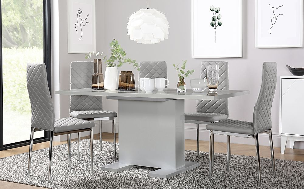 Osaka Grey High Gloss Extending Dining Table with 4 Renzo Light Grey Leather Chairs
