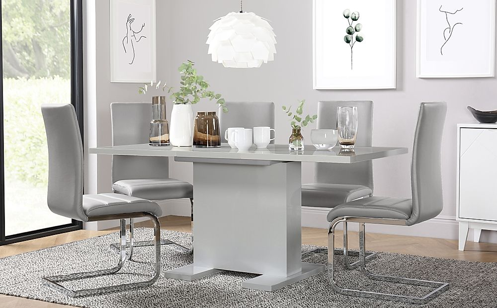 Osaka Grey High Gloss Extending Dining Table with 6 Perth Light Grey Leather Chairs