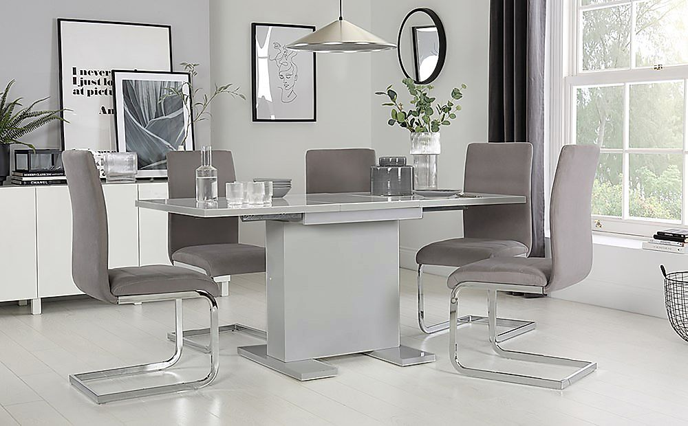 Osaka Light Grey High Gloss Extending Dining Table with 4 Perth Grey Velvet Chairs