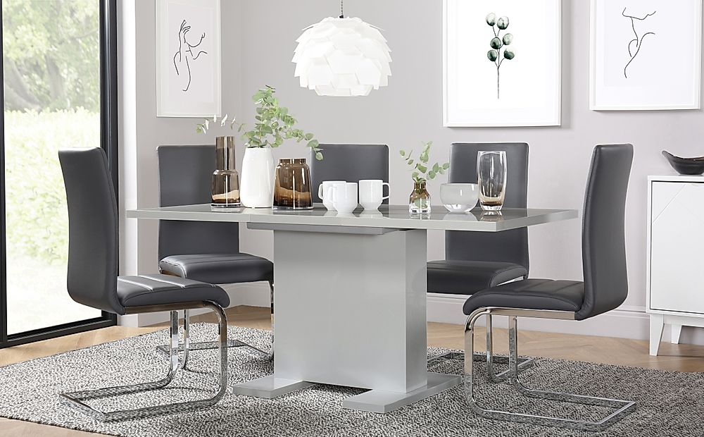 Osaka Light Grey High Gloss Extending Dining Table with 6 Perth Light Grey Leather Chairs