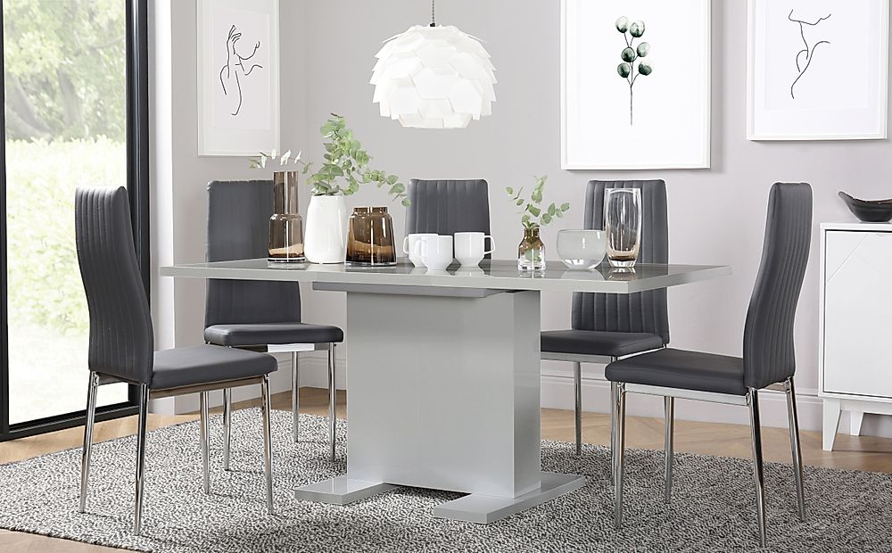 Osaka Grey High Gloss Extending Dining Table with 4 Leon Grey Leather Chairs
