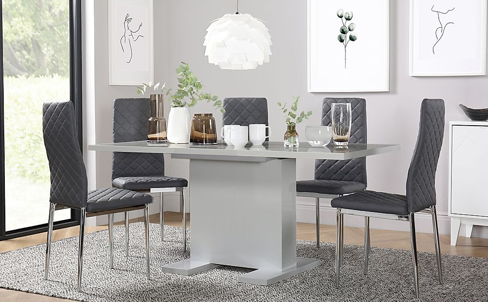 Osaka Light Grey High Gloss Extending Dining Table with 6 Renzo Light Grey Leather Chairs
