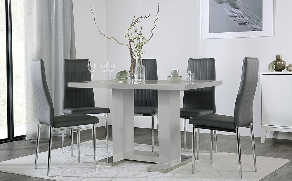 Joule Light Grey High Gloss Dining Table with 4 Leon Grey Leather Chairs