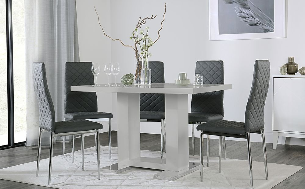 Joule Light Grey High Gloss Dining Table with 4 Renzo Grey Leather Chairs