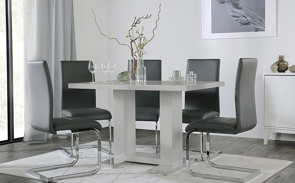 Joule Grey High Gloss Dining Table with 6 Perth Grey Leather Chairs