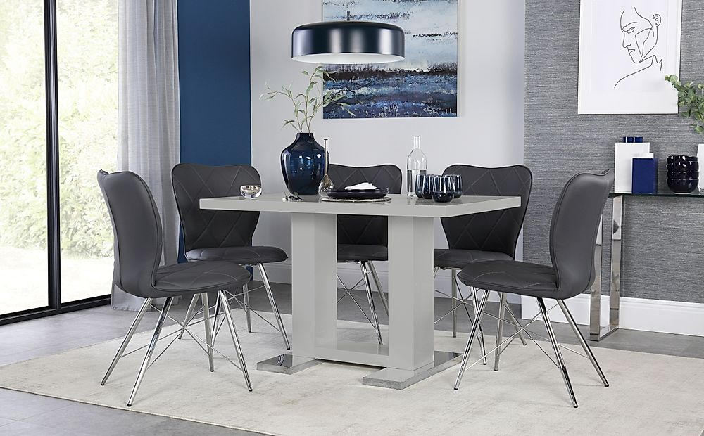 Joule Light Grey High Gloss Dining Table with 4 Lucca Grey Leather Chairs