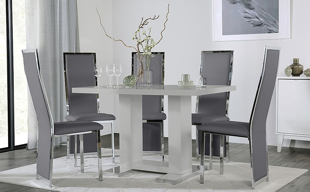 Joule Light Grey High Gloss Dining Table with 6 Celeste Grey Leather Chairs