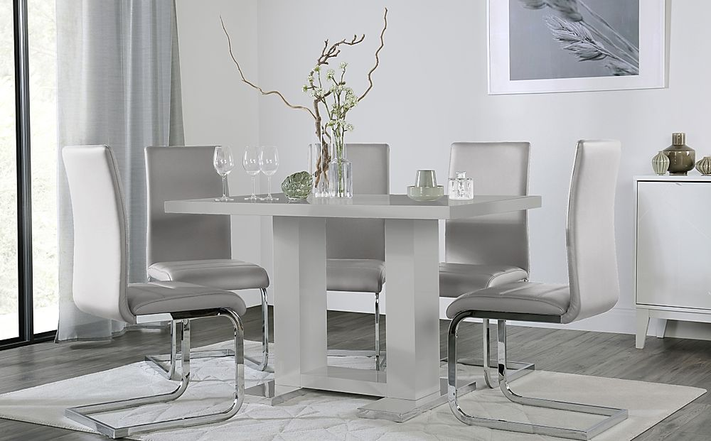 Joule Grey High Gloss Dining Table with 4 Perth Light Grey Leather Chairs