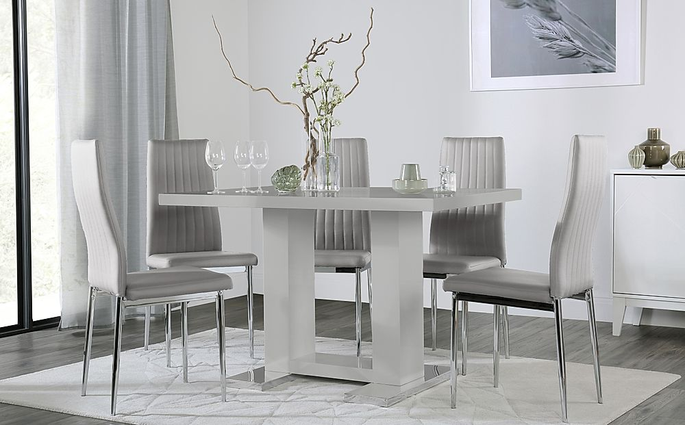 Joule Grey High Gloss Dining Table with 6 Leon Light Grey Leather Chairs