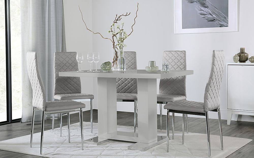 Joule Light Grey High Gloss Dining Table with 4 Renzo Light Grey Leather Chairs