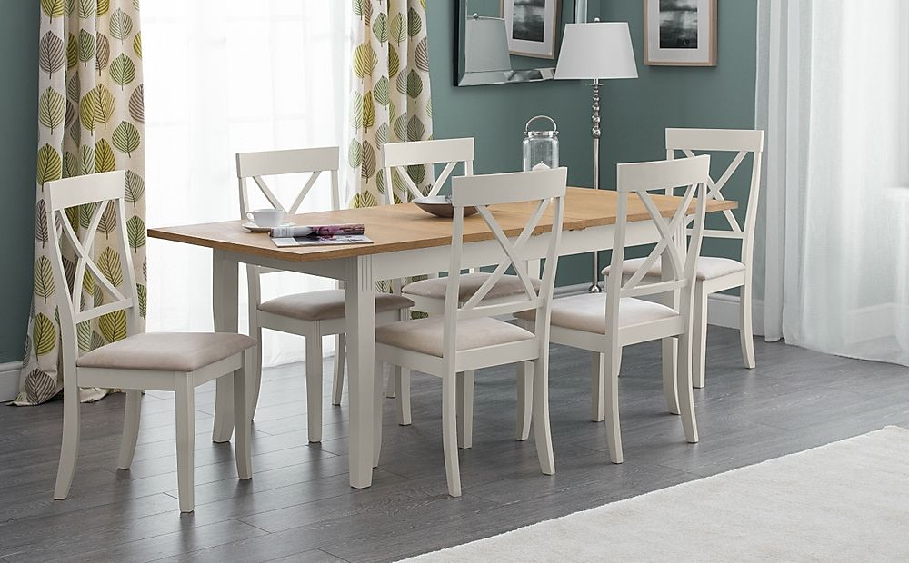Lindale Ivory and Oak Extending Dining Table with 6 Lindale Chairs (Ivory Faux Suede Seat Pad)