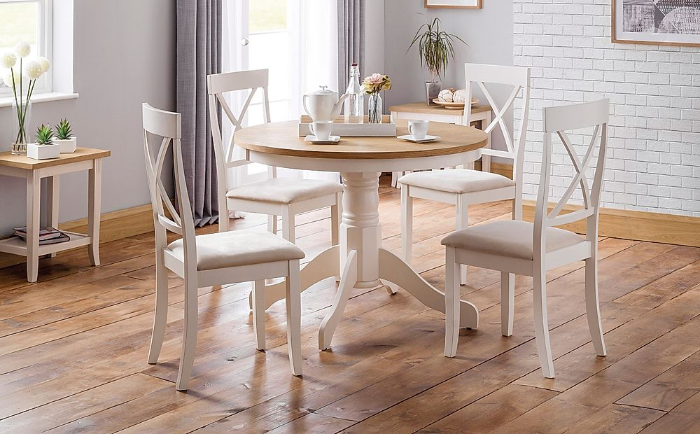 Lindale Round Ivory and Oak Dining Table with 4 Lindale Chairs (Ivory Faux Suede Seat Pad)
