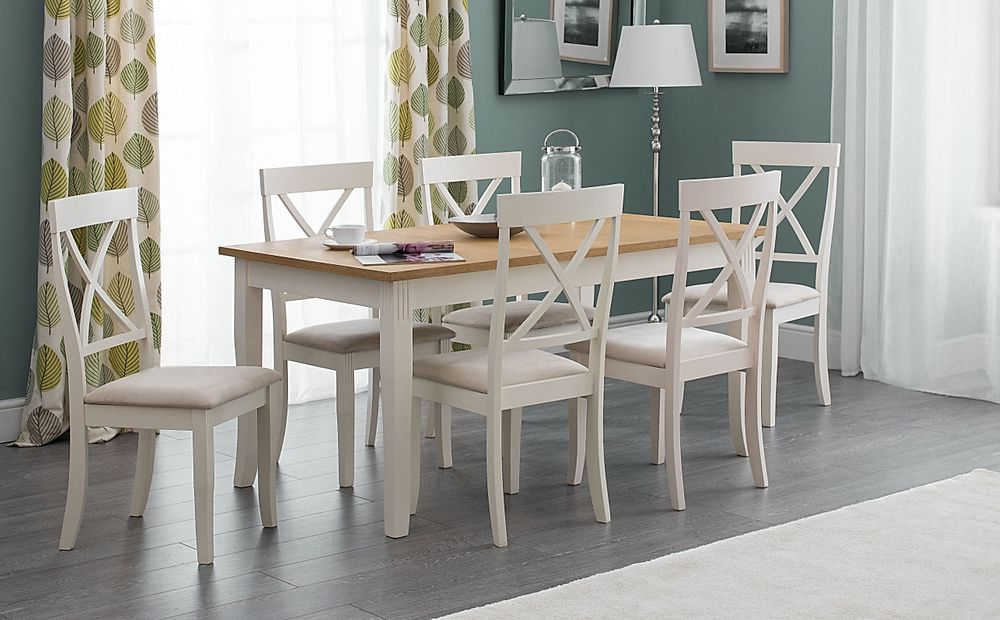 Lindale Ivory and Oak Dining Table with 6 Lindale Chairs (Ivory Faux Suede Seat Pad)