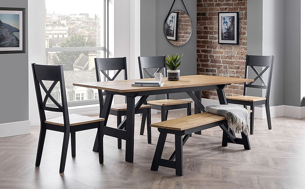 Emerson Black and Oak Dining Table and 2 Benches with 2 Emerson Chairs