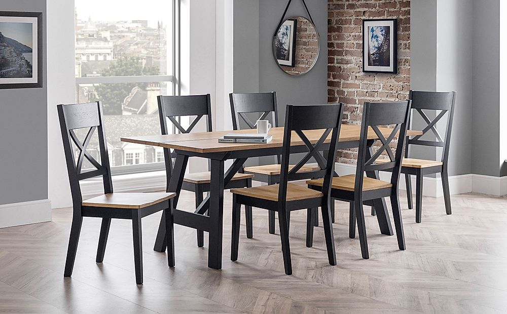 Emerson Black and Oak Dining Table with 6 Emerson Chairs